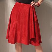 Юбки ручной работы. Ярмарка Мастеров - ручная работа Замшевая юбка винного цвета. Handmade.