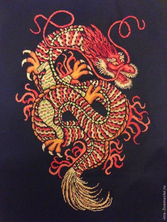 Вышивка дракона красного