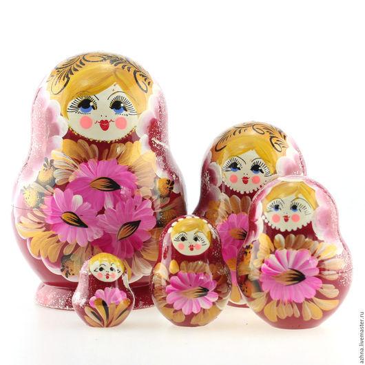 """Матрешки ручной работы. Ярмарка Мастеров - ручная работа. Купить Матрешка пузатая 5 мест, """"Розовые цветы"""", бордовая, 13 см. Handmade."""