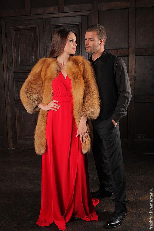 Верхняя одежда ручной работы. Ярмарка Мастеров - ручная работа. Купить шуба из лисы огневки. Handmade. Рыжий, шуба