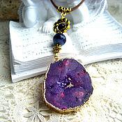 Украшения handmade. Livemaster - original item The pendant:Cross-section of agate with druse in gold. Handmade.
