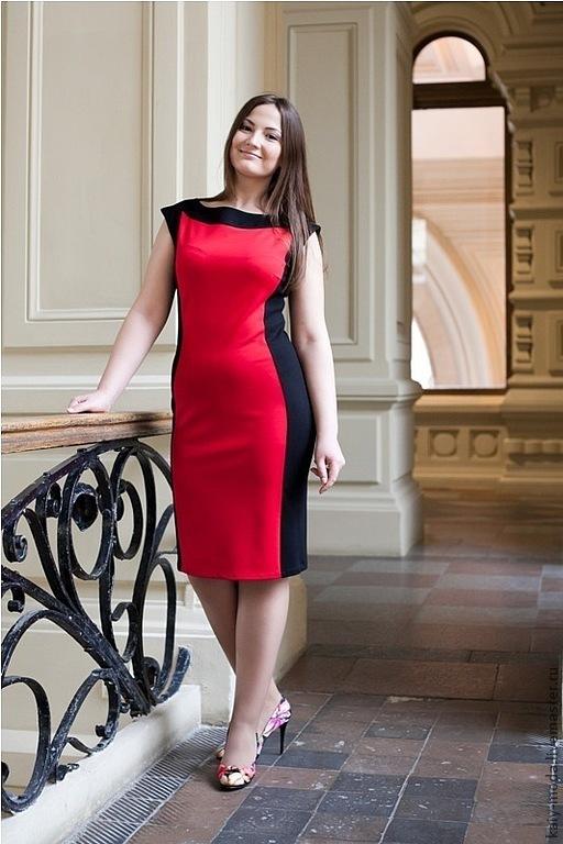 Платья ручной работы. Ярмарка Мастеров - ручная работа. Купить Платье двухцветное - черный, красный. Handmade. Ярко-красный, красное