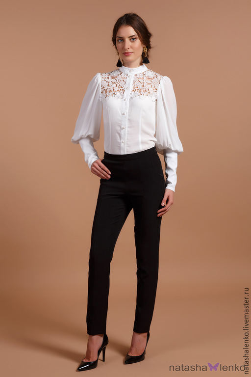 Черно белая блузка в москве