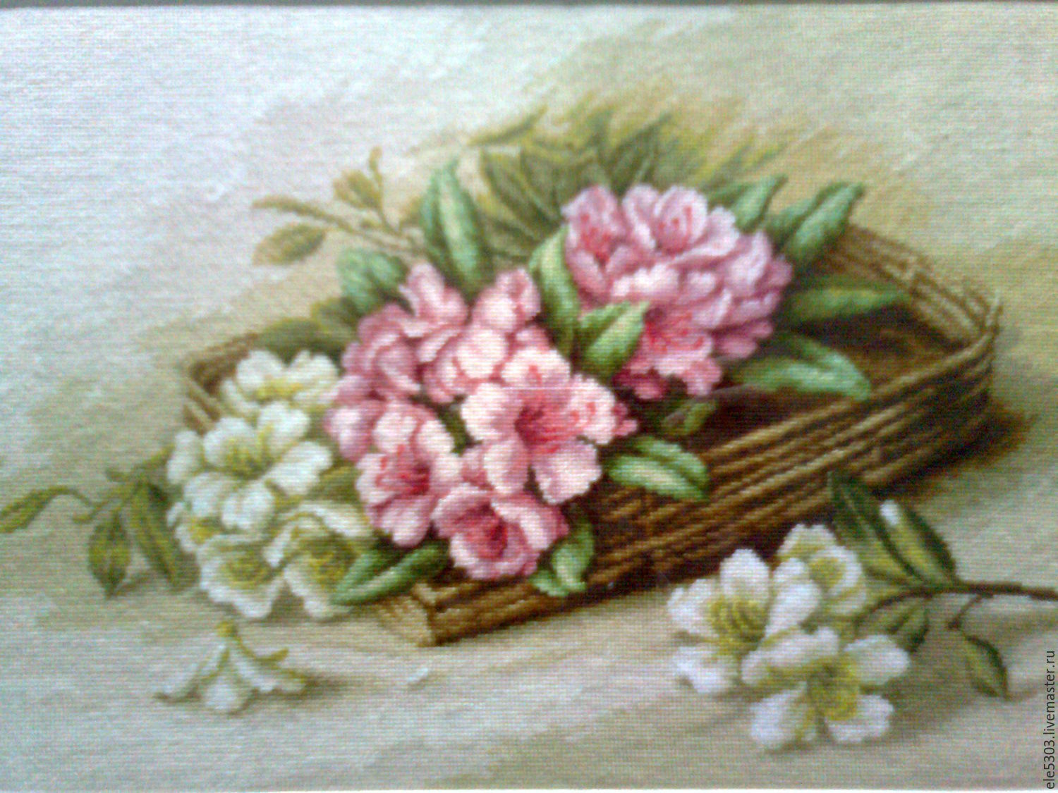 Embroidered picture of'Azaleas in a basket', Pictures, St. Petersburg,  Фото №1