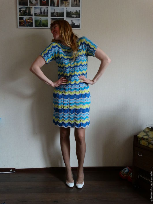 Платья ручной работы. Ярмарка Мастеров - ручная работа. Купить Летнее платье в стиле Missoni из хлопка. Handmade. Комбинированный, бирюзовый