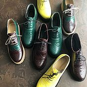 Обувь ручной работы handmade. Livemaster - original item Boots moccasin leather with uneven Green and yellow. Handmade.