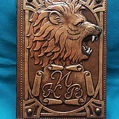 "Канцелярские товары handmade. Livemaster - original item Leather notebook ""KING OF BEASTS"". Handmade."