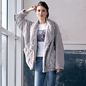 Одежда handmade. Livemaster - original item Grey faux fur cardigan cape, fuzzy coat, Jacket with Long Sleeves. Handmade.