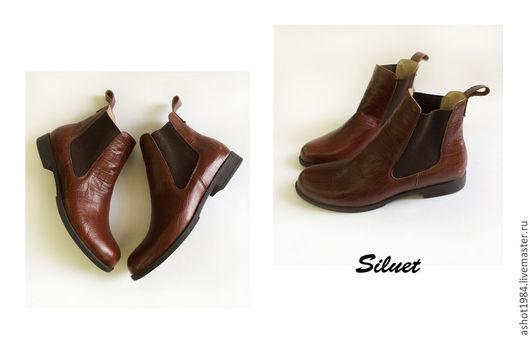 Обувь ручной работы. Ярмарка Мастеров - ручная работа. Купить Челси женские. Handmade. Коричневый, натуральная кожа, чепрак