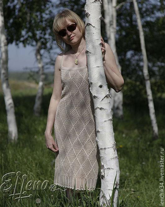 платье летнее ажурное вязаное, бежевое платье