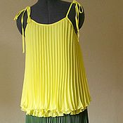 Одежда ручной работы. Ярмарка Мастеров - ручная работа Топ нежный желтый. Handmade.
