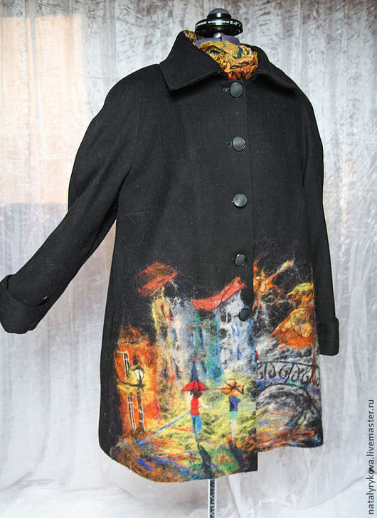 Верхняя одежда ручной работы. Ярмарка Мастеров - ручная работа. Купить Пальто Городской пейзаж. Handmade. Черный