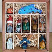 Сувениры и подарки handmade. Livemaster - original item Gift set of Christmas tree toys made of wood carved figures. Handmade.