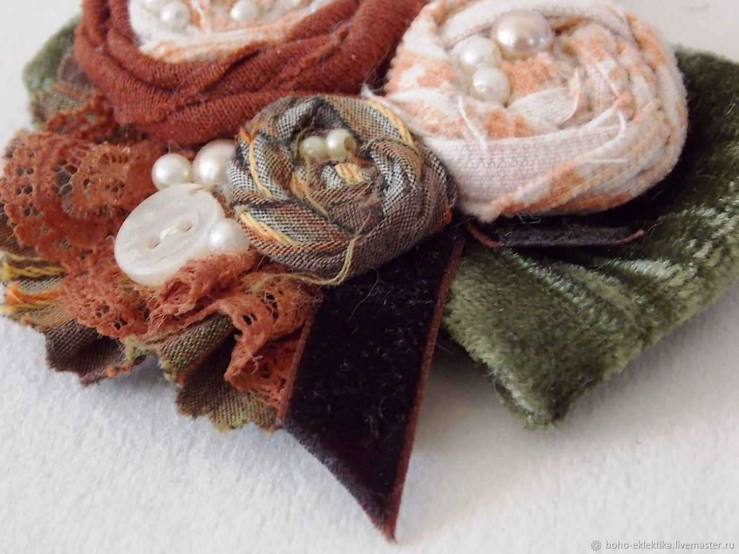 Brooch 'Shades of autumn - green' textile in the style boho, Brooches, Tomsk,  Фото №1