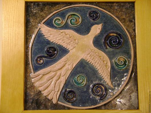 Символизм ручной работы. Ярмарка Мастеров - ручная работа. Купить панно Белая птица (1) Керамика. Handmade. Белый, устремление