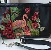 Сумки и аксессуары handmade. Livemaster - original item Leather bag art.1-411.Pink flamingos.. Handmade.