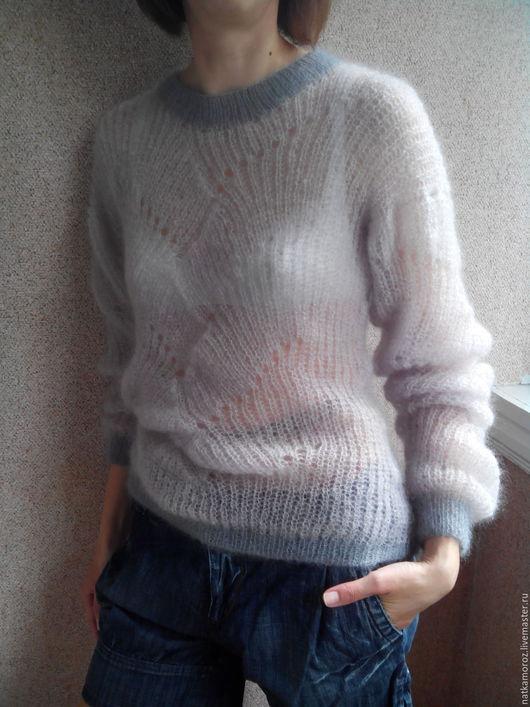 Кофты и свитера ручной работы. Ярмарка Мастеров - ручная работа. Купить Свитер из кидмохера ПРИКОСНОВЕНИЕ НЕЖНОСТИ. Handmade. Бледно-сиреневый
