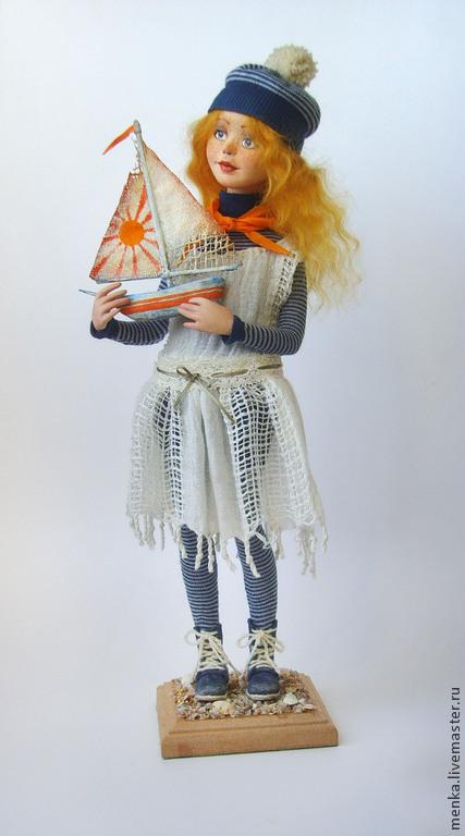 Коллекционные куклы ручной работы. Ярмарка Мастеров - ручная работа. Купить Девочка с корабликом. Handmade. Девочка с корабликом, оранжевый