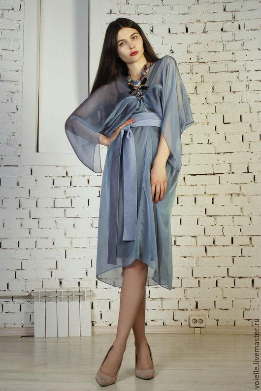 вечернее платья из шифона с рукавами, платья шелк шифон, легкое платье из шифона, фасоны платьев из шифона, модели платьев из шифона