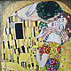 """Люди, ручной работы. Копия известной картины Густава Климта """"Поцелуй"""". Мария Салтыкова. Интернет-магазин Ярмарка Мастеров. золотой"""