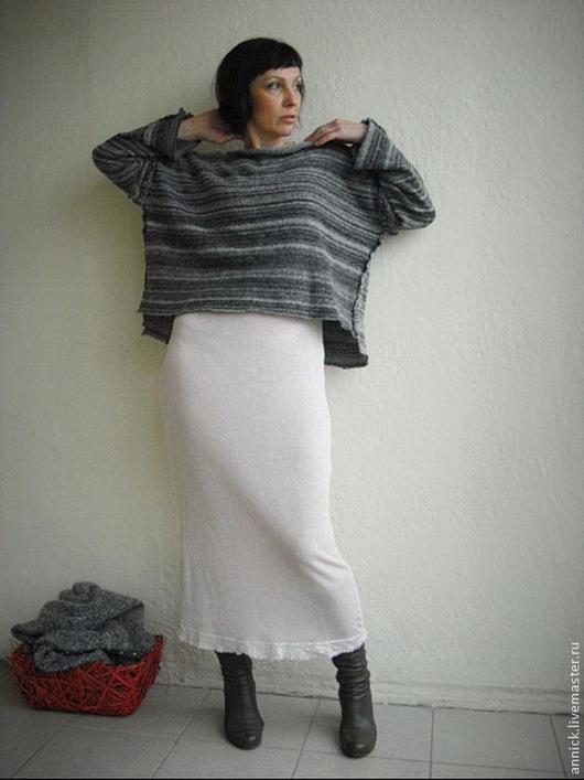 Кофты и свитера ручной работы. Ярмарка Мастеров - ручная работа. Купить Трикотажный теплый полосатый пуловер. Handmade. Серый, шерсть