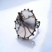 Кольца ручной работы. Ярмарка Мастеров - ручная работа Серебрянное кольцо с моховым агатом. Handmade.