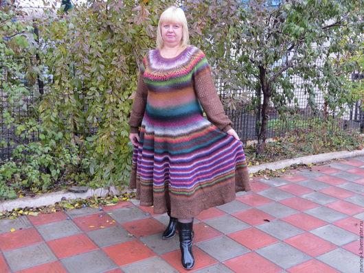 """Платья ручной работы. Ярмарка Мастеров - ручная работа. Купить Платье  """"Радуга"""". Handmade. Комбинированный, платье вязаное, пряжа"""