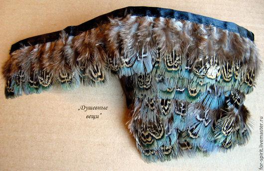 Другие виды рукоделия ручной работы. Ярмарка Мастеров - ручная работа. Купить (10 см) Перья фазана на ленте зеленые. Handmade.