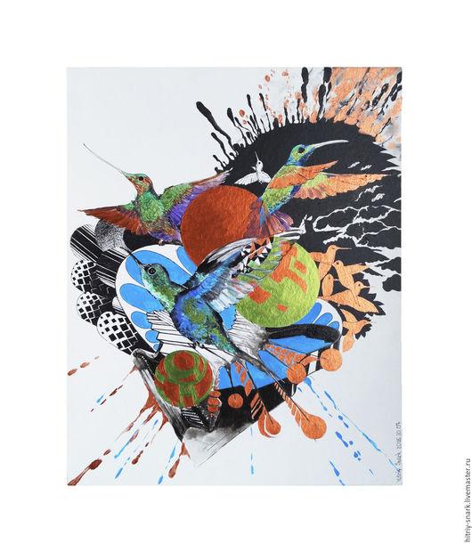 Яркая, легкая, сияющая графика от меня! Птицы из сердца с золотыми сферами написанные под звуки чудесных мелодий) `Колибри/Hummingbird` 2016  Грунтованный картон 50 см х 40 см  Акрил, тушь.