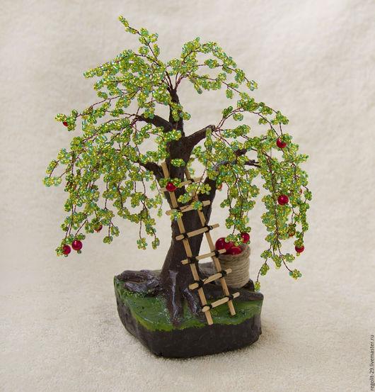 Деревья ручной работы. Ярмарка Мастеров - ручная работа. Купить Яблоня из бисера, дерево из бисера. Handmade. Зеленый, дерево