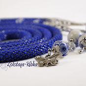Украшения handmade. Livemaster - original item Lariat blue Gzhel long beaded decoration. Handmade.