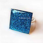 Украшения handmade. Livemaster - original item Ring square blue glitter. Handmade.