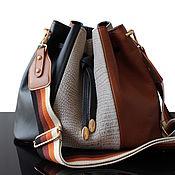 Сумки и аксессуары handmade. Livemaster - original item Bag-bag made of genuine leather red-black with Canvas strap. Handmade.