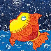 Открытки ручной работы. Ярмарка Мастеров - ручная работа Открытка Рыба удивилась. Handmade.