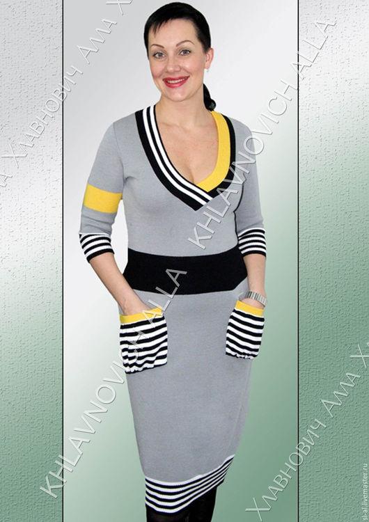 """Платья ручной работы. Ярмарка Мастеров - ручная работа. Купить Платье """"Кармашки"""" Модель 178. Handmade. Комбинированный, платье вязаное"""