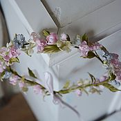 Украшения ручной работы. Ярмарка Мастеров - ручная работа Венок на голову Пудровое утро невесты. Цветы из шелка. Handmade.