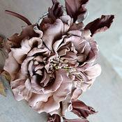 Украшения handmade. Livemaster - original item Flowers leather rose Brooch Parfait. Handmade.