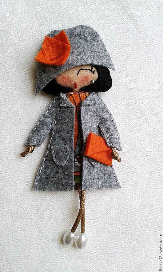 Броши ручной работы. Ярмарка Мастеров - ручная работа. Купить Брошь-куколка из фетра. Handmade. Разноцветный, брошка из фетра