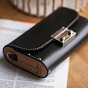 Сумки и аксессуары handmade. Livemaster - original item Small black leather and wood Burn handbag. Handmade.