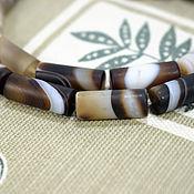 Бусины ручной работы. Ярмарка Мастеров - ручная работа Агат ботсванский натуральный, бусины 19-20х7 мм. Handmade.