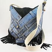 Сумки и аксессуары handmade. Livemaster - original item Denim bag with fringe shopper denim bag Denim fashion jeans. Handmade.