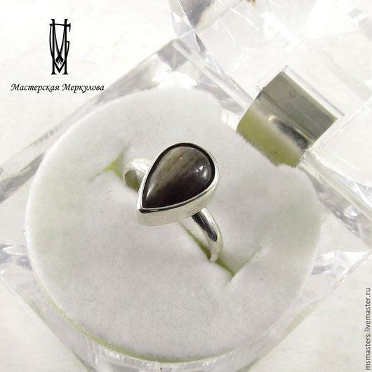 Кольца ручной работы. Ярмарка Мастеров - ручная работа. Купить Перстень капля с окаменелым деревом. Handmade. Серебряный, кольцо с камнем