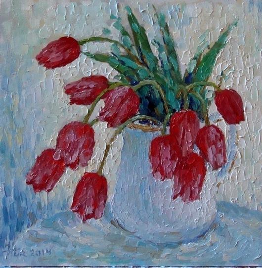 """Картины цветов ручной работы. Ярмарка Мастеров - ручная работа. Купить Картина маслом """"Тюльпаны в белом кувшине"""". Handmade."""