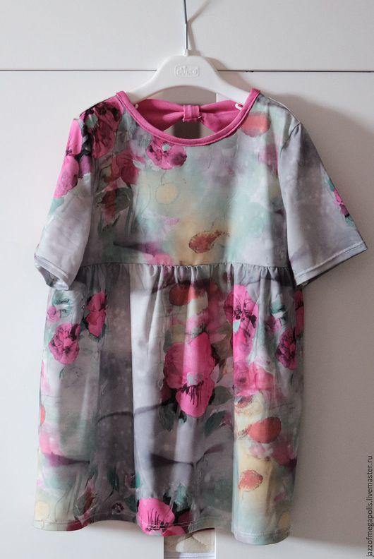 Одежда для девочек, ручной работы. Ярмарка Мастеров - ручная работа. Купить Платье трикотажное для девочки. Handmade. Фуксия, орнамент, платье