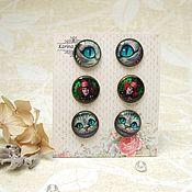 Stud earrings handmade. Livemaster - original item Vintage stud Earrings Cheshire cat Hatter Alice in Wonderland. Handmade.