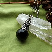 Украшения handmade. Livemaster - original item Pendant with black obsidian. Handmade.
