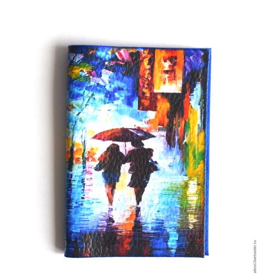 """Обложки ручной работы. Ярмарка Мастеров - ручная работа. Купить Обложка из кожи """"Вечерний дождь"""". Handmade. Комбинированный, обложка, подарок"""