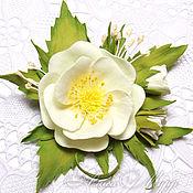 """Украшения ручной работы. Ярмарка Мастеров - ручная работа Брошь, заколка """"Белый шиповник""""  фоамиран брошка цветы. Handmade."""