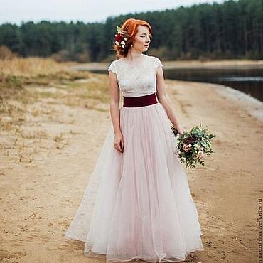 Свадебный салон ручной работы. Ярмарка Мастеров - ручная работа Пудровое свадебное платье. Handmade.