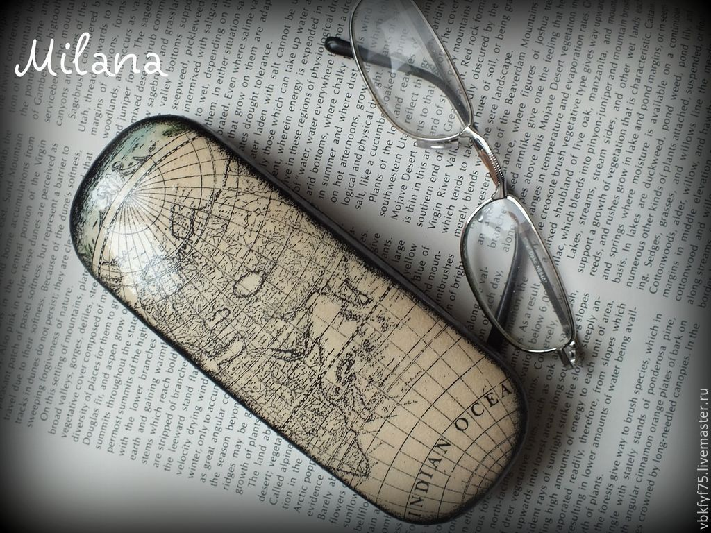 """Очешник """"Карта открытий"""" Очечники декупаж"""